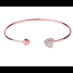 Jewelry - Rose Gold Love Heart Cuff Bangle Bracelet